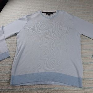 Tasso Elba Men L Baby Blue Cotton Knit Sweater